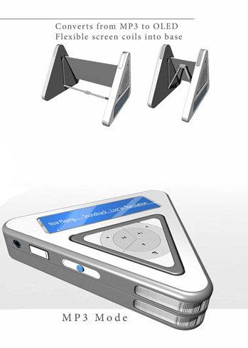 미래지향적인 디자인을 보여주는 MP3
